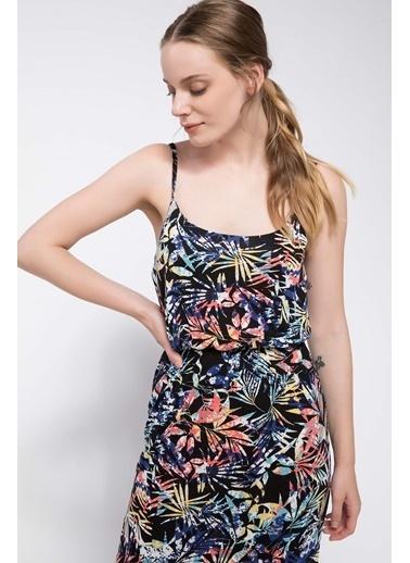 295998e8f0830 DeFacto Tropik Desenli Uzun Elbise Lacivert DeFacto Tropik Desenli Uzun  Elbise Lacivert